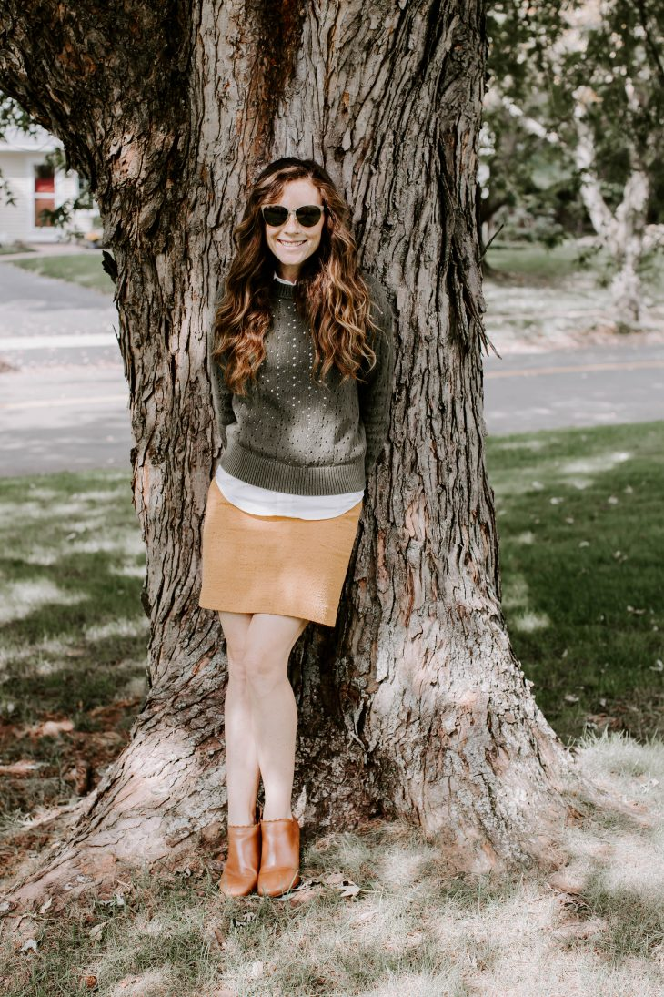 Green Sweater, Mustard Skirt, Tan Booties