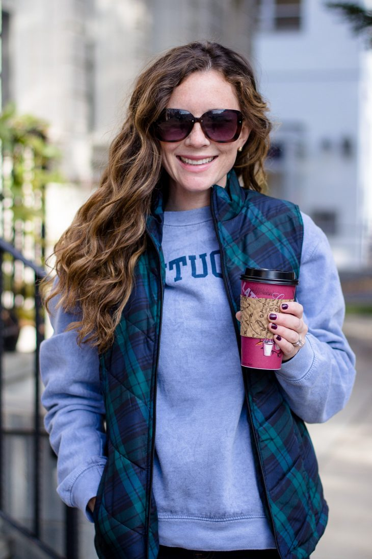 Mom with Coffee in Plaid Vest