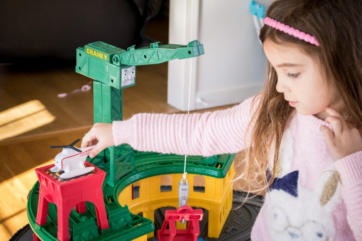Girl Playing with Harold the Helicopter for Thomas the Train