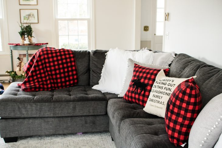 Black and Red Buffalo Check Moose Pillows