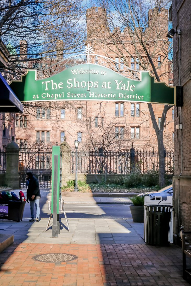 The Shops at Yale sign