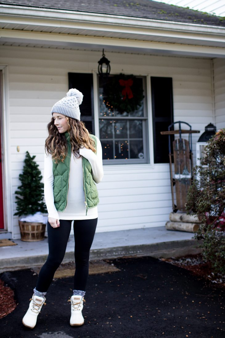 Winter Weather Outfit Turtleneck Vest Leggings Sperry Boots