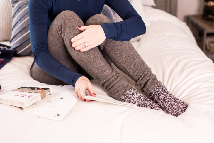 Cozy socks and fleece pants
