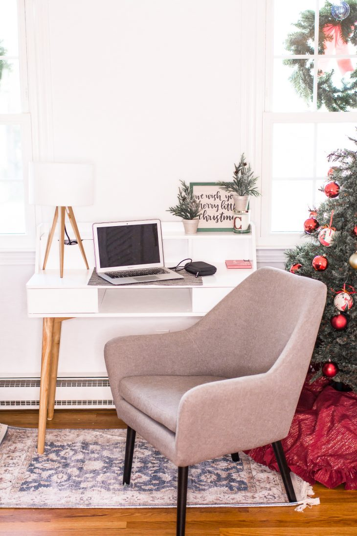 Gray Chair White Desk Christmas Tree