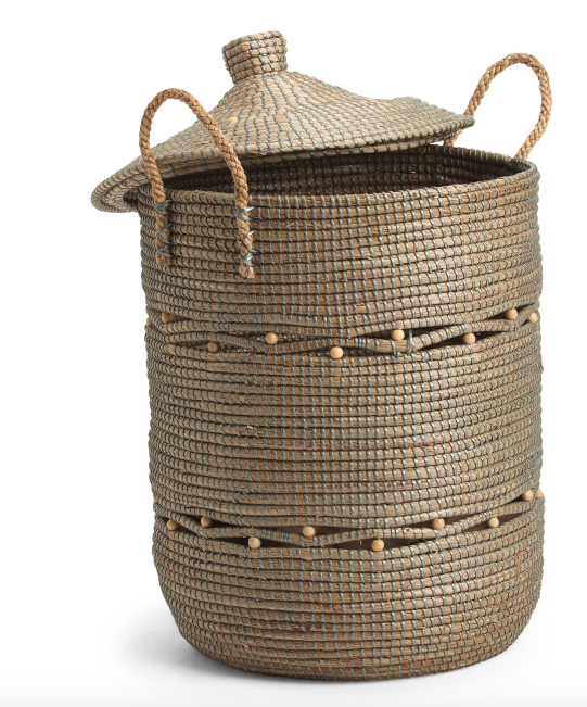 Large Tan and Brown Woven Storage Basket with Lid and Handles