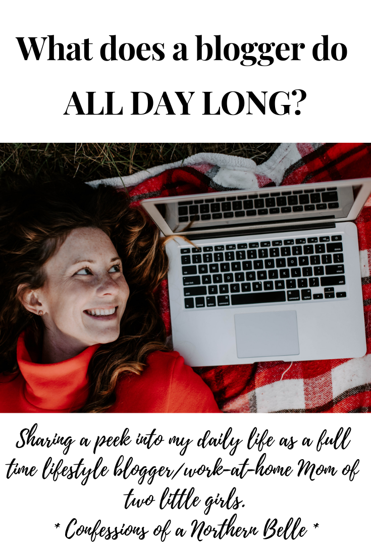 What does a blogger do all day long? A woman wearing red staring at a laptop computer while she lies on her back on a red plaid blanket