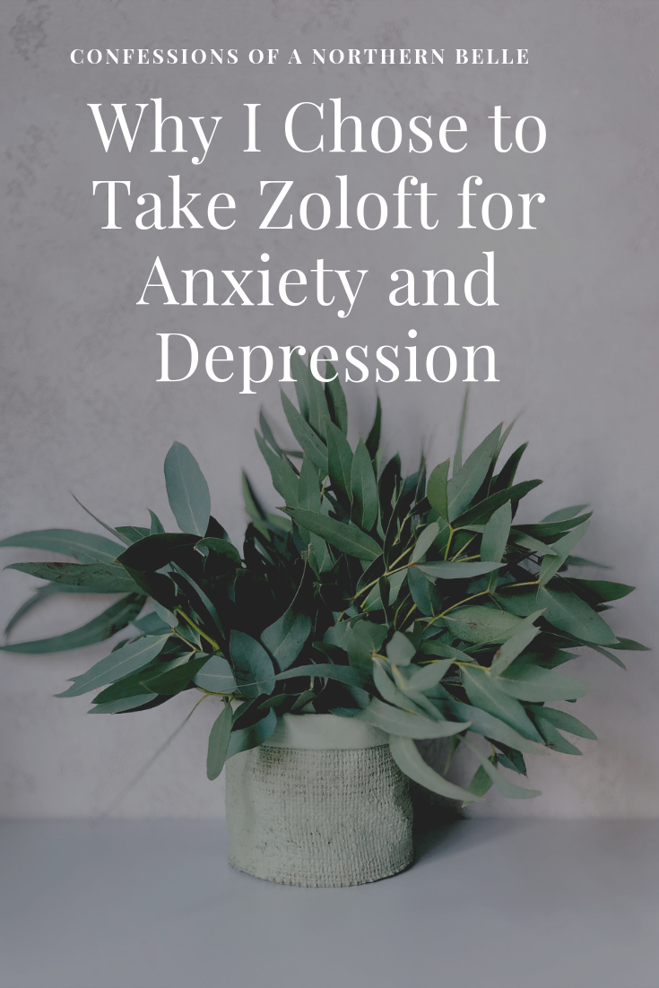 Shaded photo of a plant with text overlaying Why I Chose to Take Zoloft for Anxiety and Depression