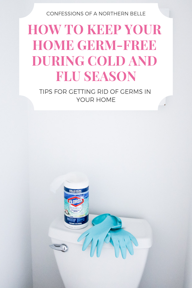 Tips for Getting Rid of Germs in Your Home during Cold and Flu Season - Clorox Wipes on Top of Toilet with teal Gloves draped by the side