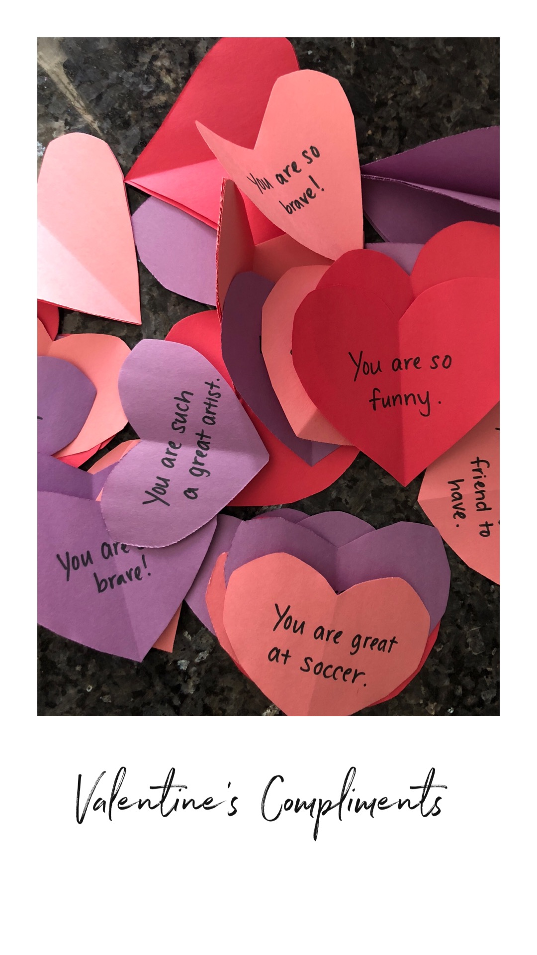 Paper hearts with words written on them - compliments for kids for Valentine's Day