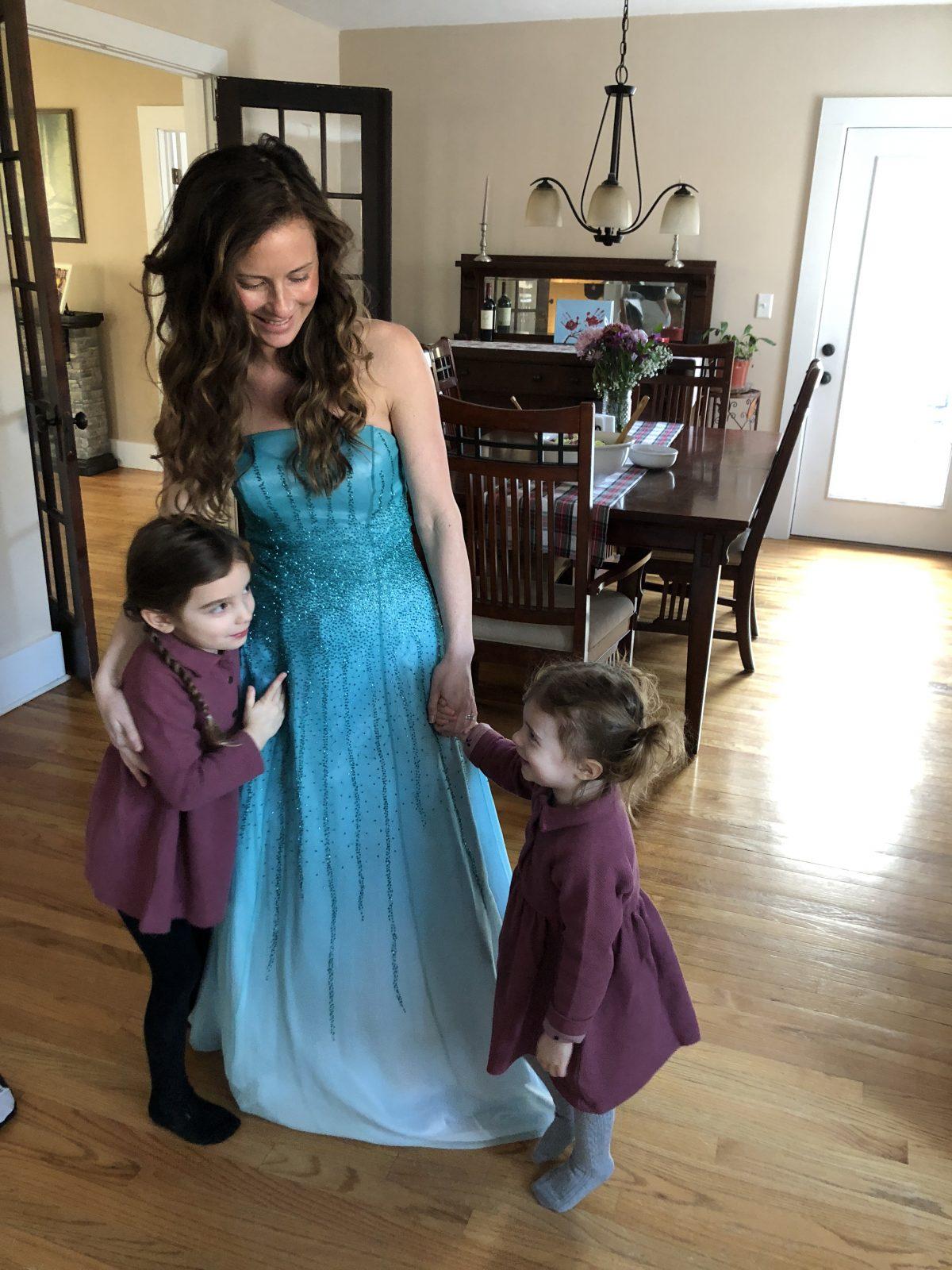 Woman in Blue Dress like Elsa from Frozen