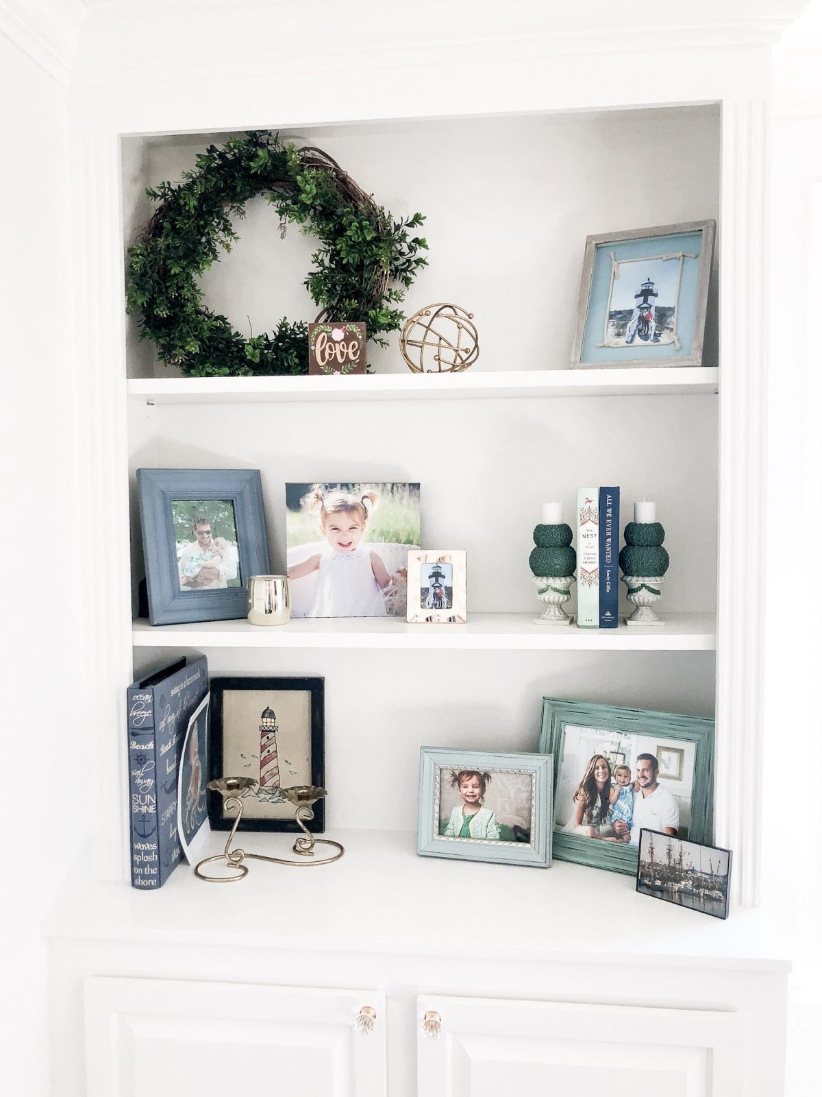 Built In Shelf Styling with Greens and Blues