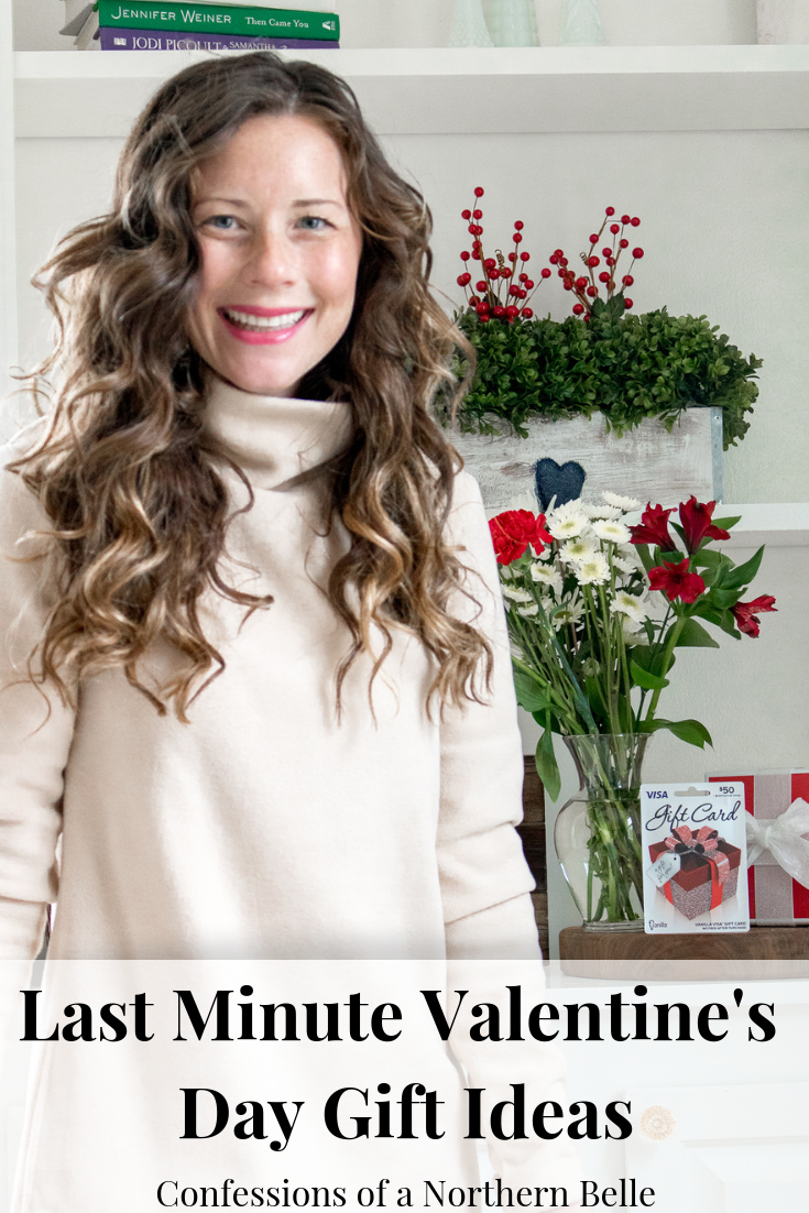 Woman wearing tan turtleneck fleece shirt smiling at the camera - Last Minute Valentine's Day Gifts