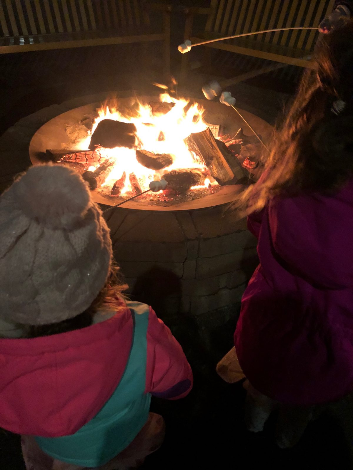 Making Smores at Woodloch Pines Resort in the Poconos Mountains