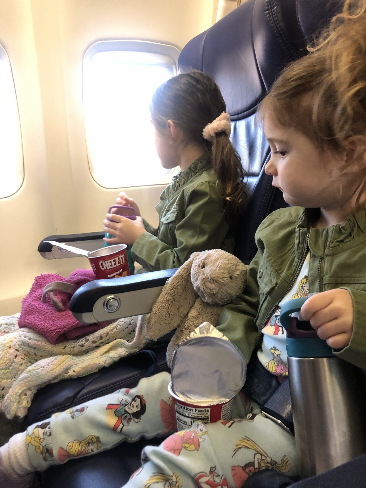 Toddlers and Snacks on a Plane