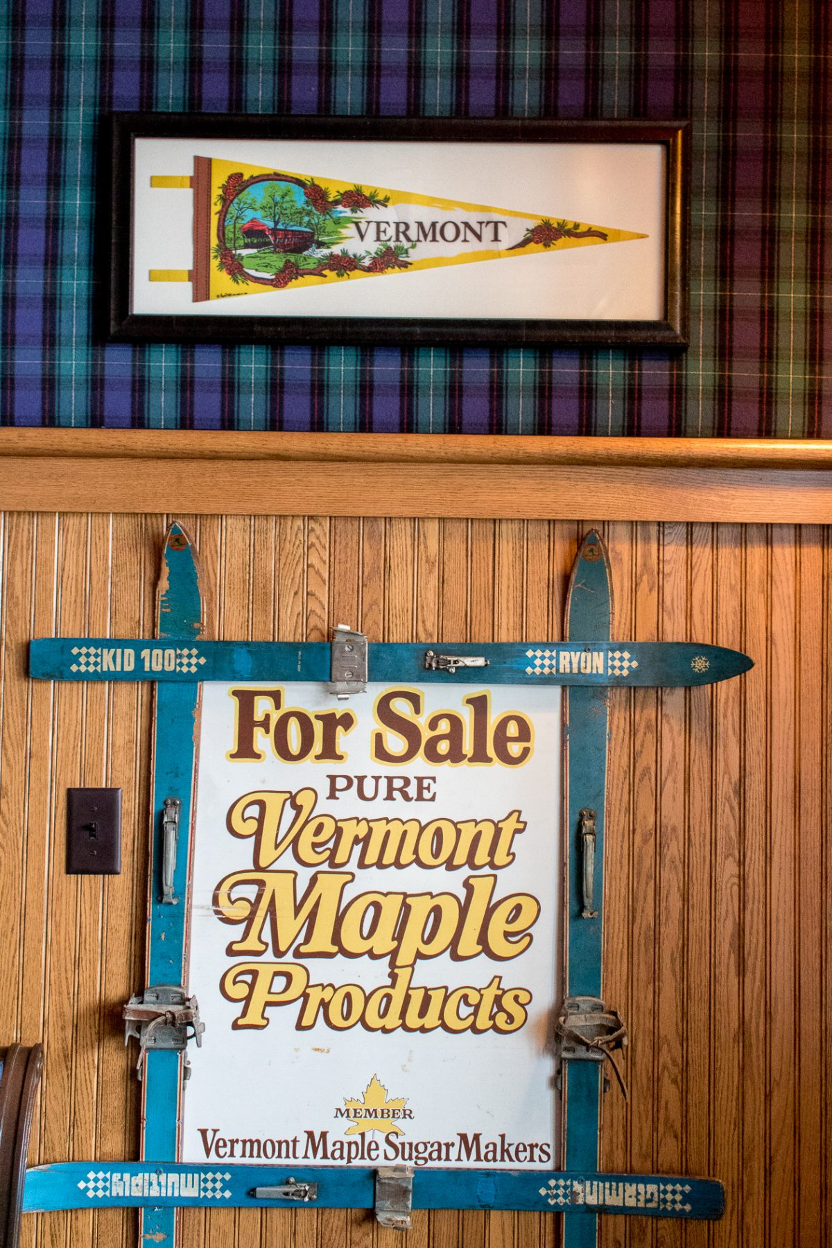 Sign saying For Sale Pure Vermont Maple Products in the Retro Game Room at Woodstock Inn and Resort in Woodstock Vermont