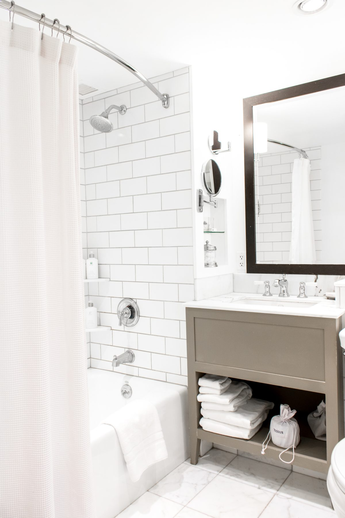 Subway Tile Bathroom and Gray Vanity at Woodstock Inn and Resort in Woodstock Vermont
