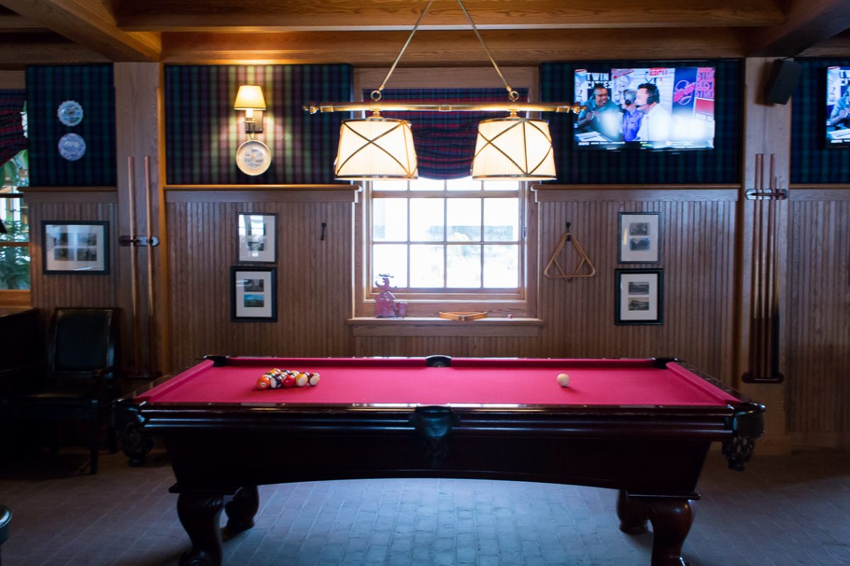 Retro Game Room pool table at Woodstock Inn and Resort in Woodstock Vermont
