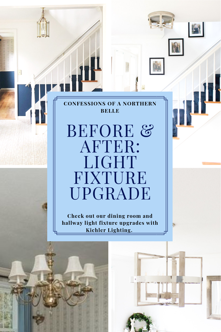 Before And After Dining Room And Hallway Light Fixture Upgrade