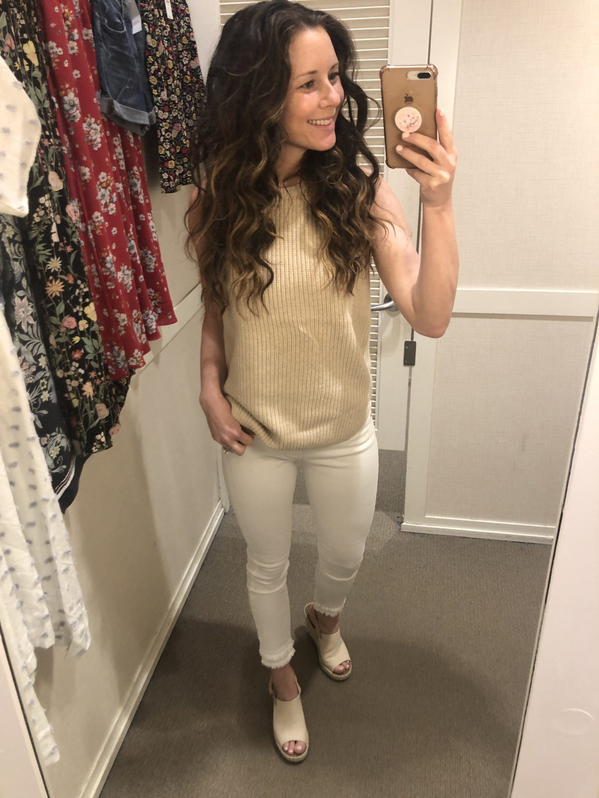 Tan Sweater Tank and White Frayed Cropped Denim on Woman at LOFT Confessions of a Northern Belle