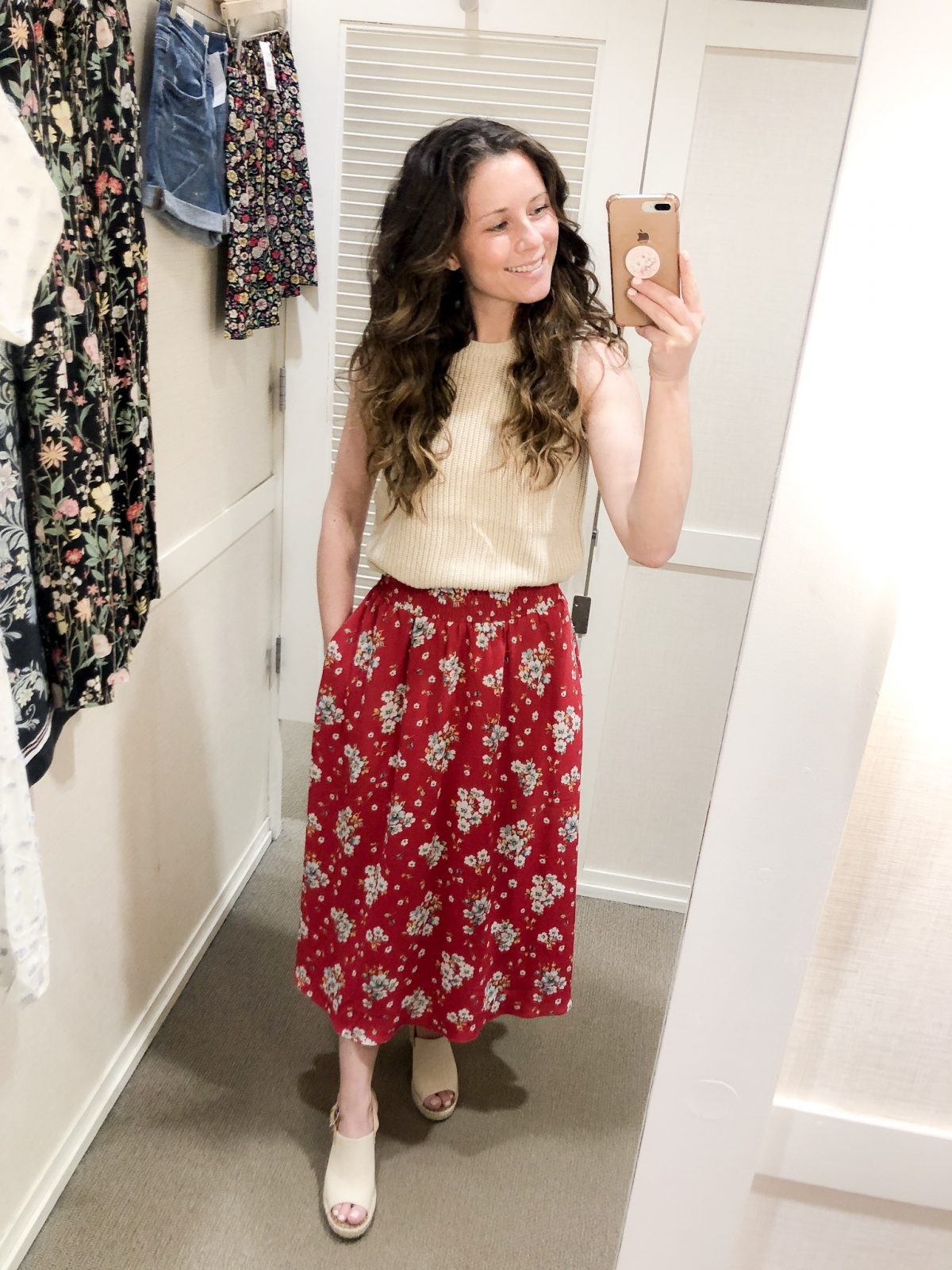 Tan Sweater Tank and Red Floral Skirt LOFT Confessions of a Northern Belle