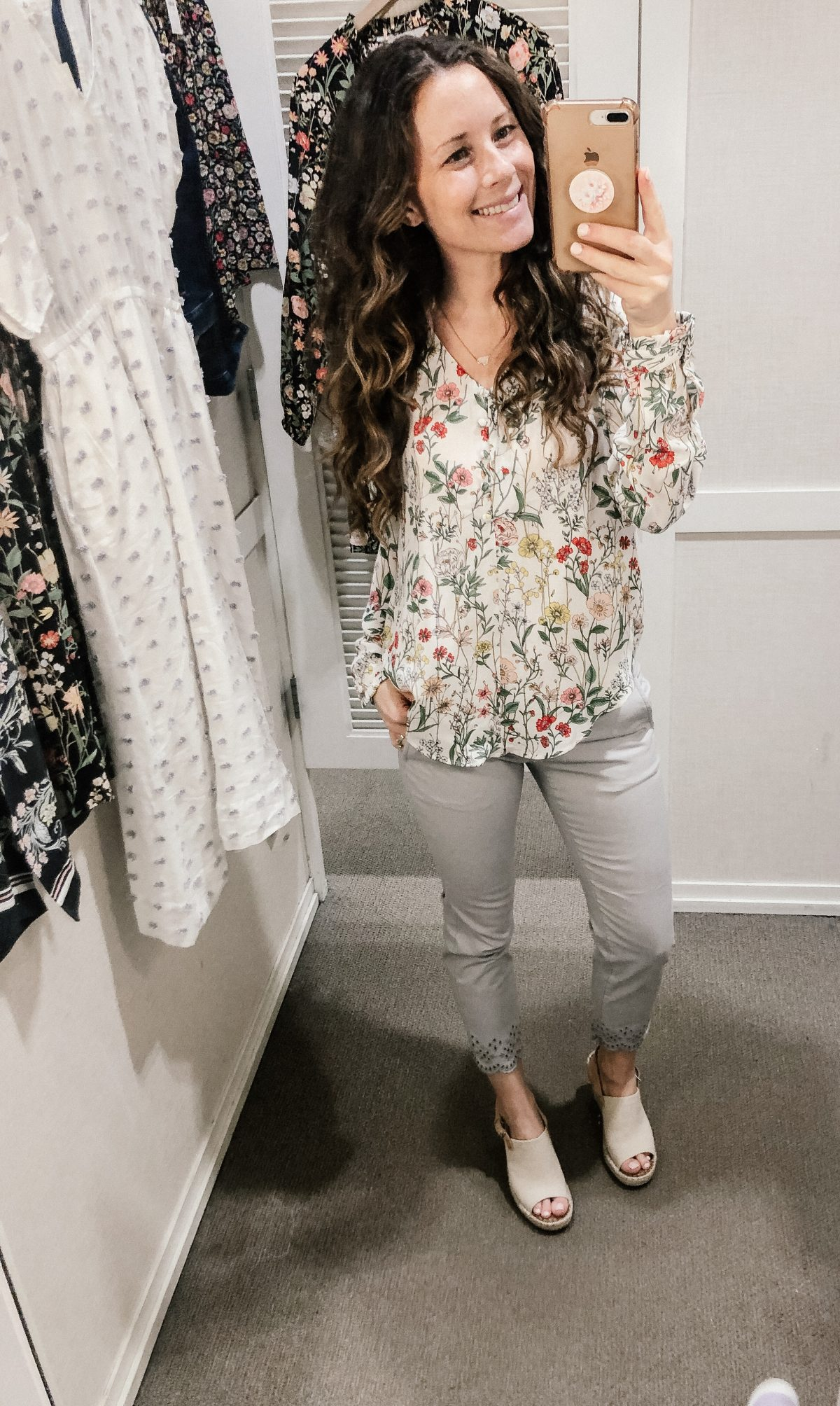White Floral Long Sleeve Top and Gray Cropped Pants with Eyelet Hem on Woman at LOFT Confessions of a Northern Belle