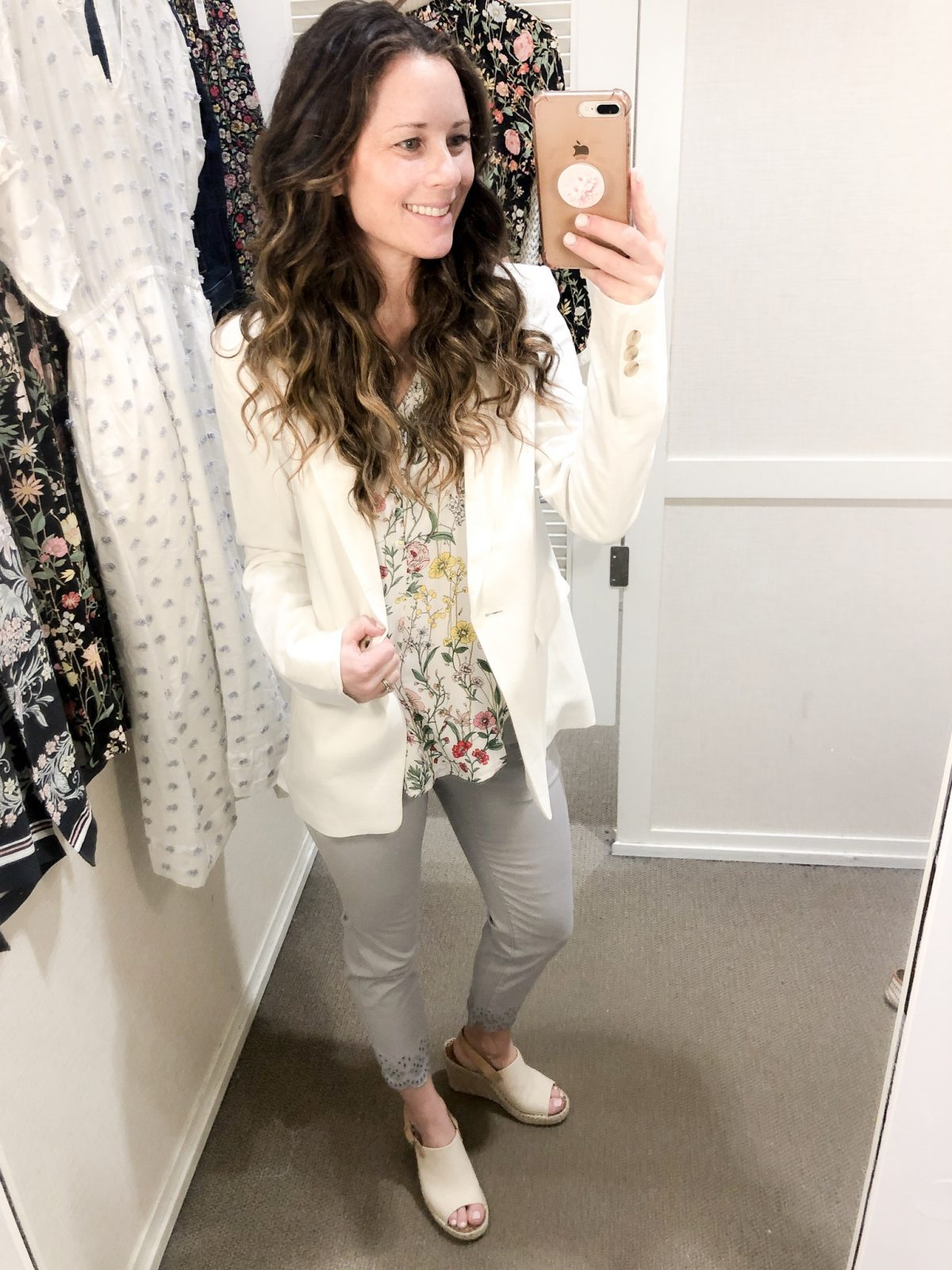 White Blazer over Floral Long Sleeve Top and Gray Cropped Pants with Eyelet Hem on Woman at LOFT Confessions of a Northern Belle