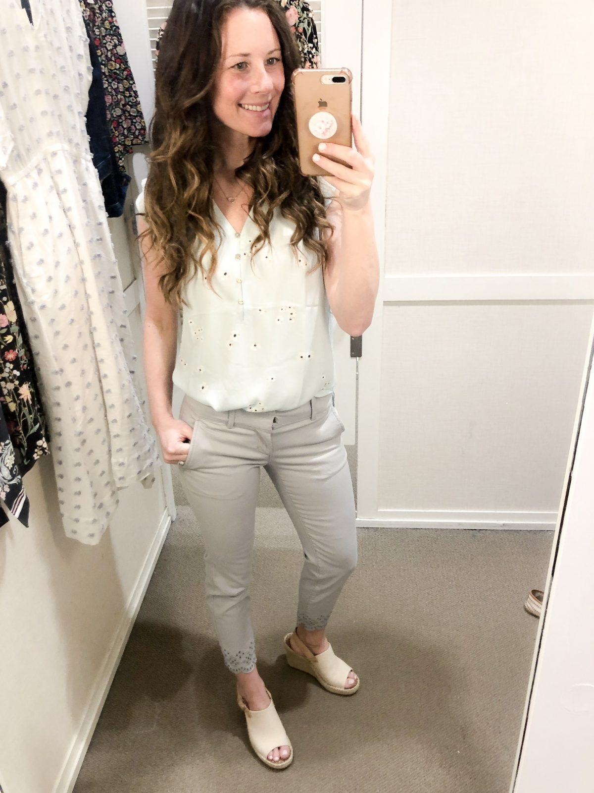 Light Blue Flutter Sleeve Tank and Gray Cropped Pants with Eyelet Hem on Woman at LOFT Confessions of a Northern Belle