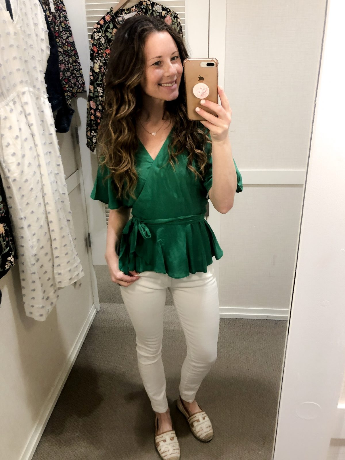 Green Wrap Top with White Cropped Denim and Tan Tory Burch Espadrilles White Floral Flowy Long Sleeve Top and Gray Cropped Pants with Eyelet Hem on Woman at LOFT Confessions of a Northern Belle