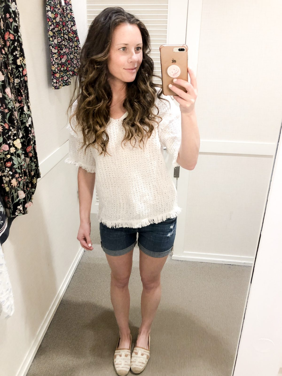 White Frayed Sweater and Denim Rolled Shorts with Tory Burch Espadrilles on Woman at LOFT Confessions of a Northern Belle