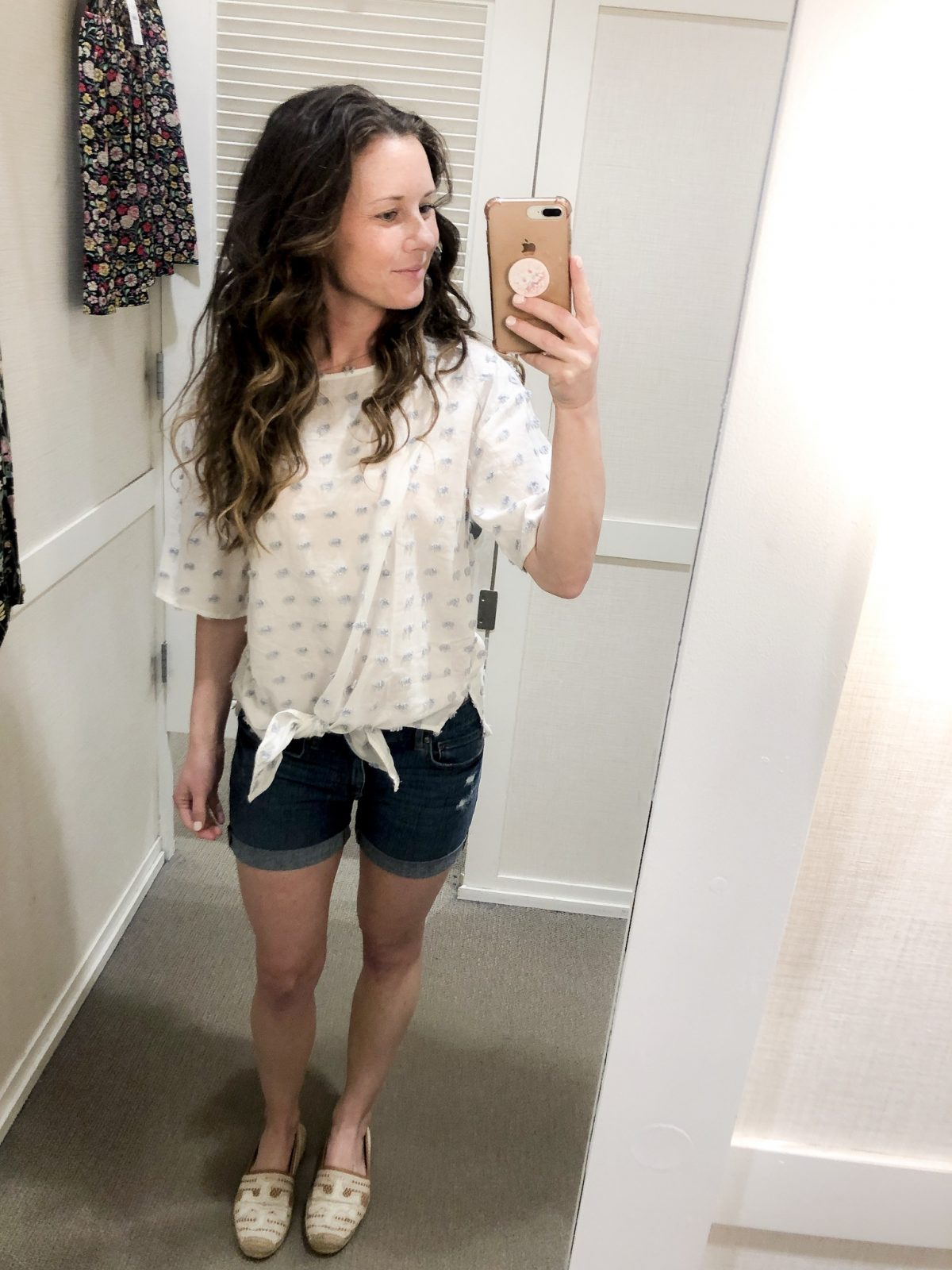 White and Blue Top tied at From with Denim Shorts and Tory Burch Espadrilles on Woman at LOFT Confessions of a Northern Belle