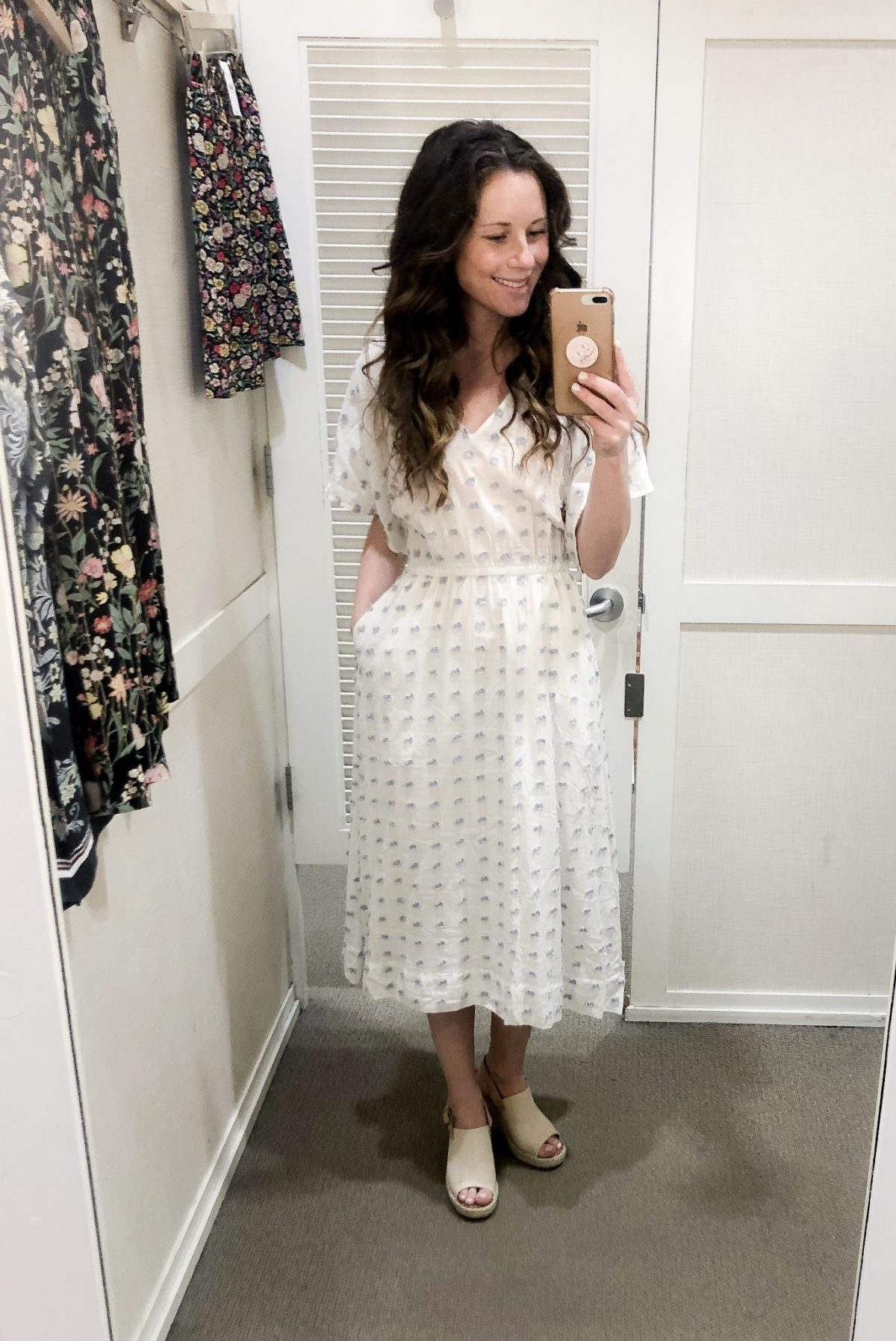 White and blue patterned midi dress and Tan Peep Toe Slingback Espadrille on Woman at LOFT Confessions of a Northern Belle