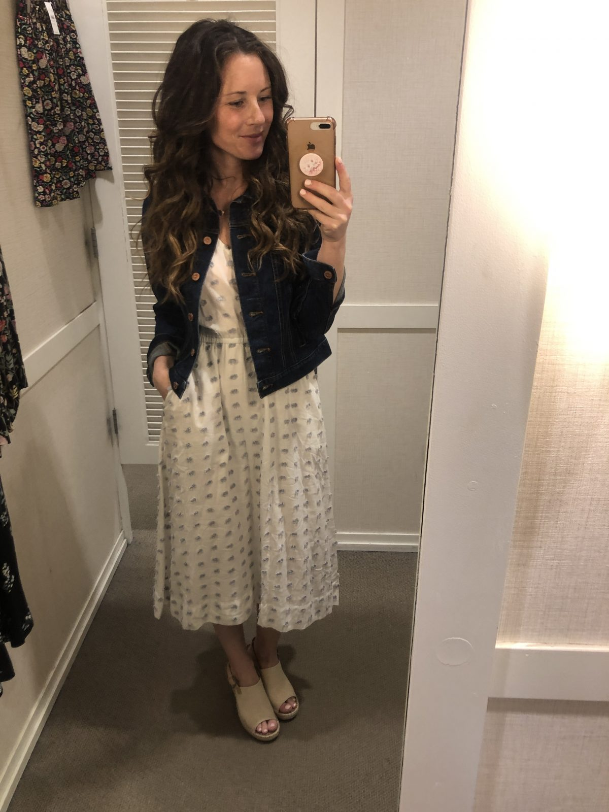 White and blue Patterned Midi Dress with Denim Jacket and Tan Peep Toe Slingback Espadrille on Woman at LOFT Confessions of a Northern Belle