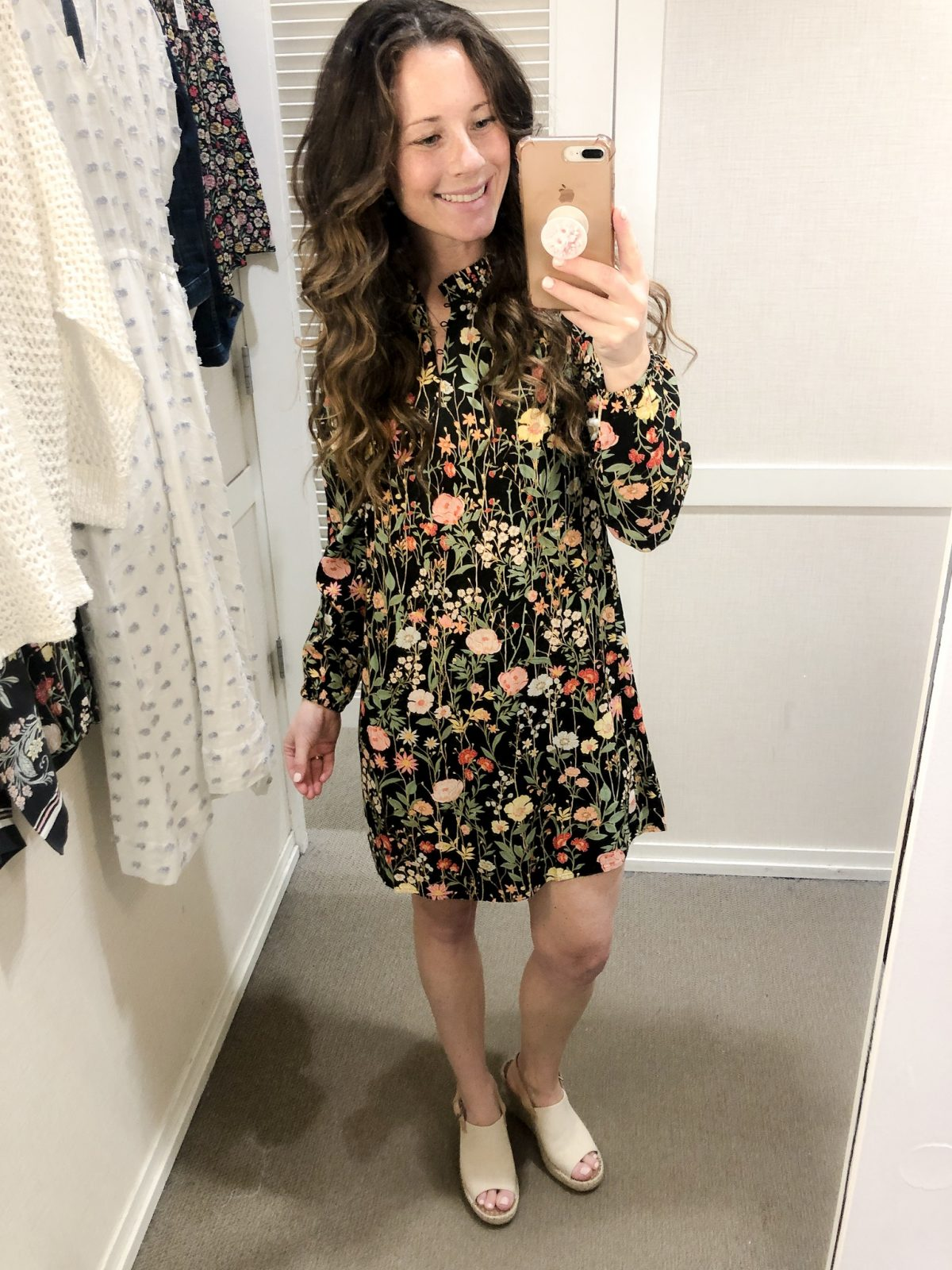 Black Floral Dress with Tan Slingback Peep Toe Espadrille by TOMS on Woman at LOFT Confessions of a Northern Belle
