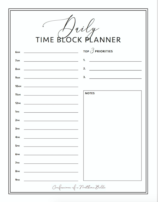 daily time block planner
