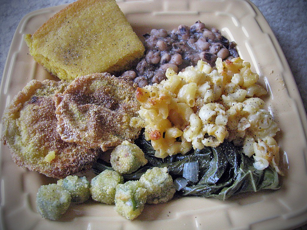 Southern Vegetable Plate - Fried okra, Collard Greens, Fried Green Tomatoes, Black Eyed Peas, Macaroni & Cheese