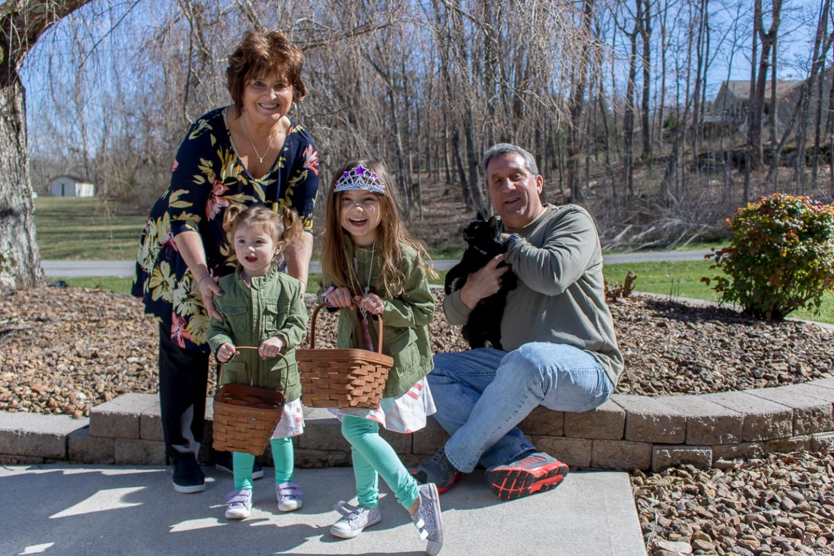 Kids with easter baskets standing with Grandparents in Tennessee
