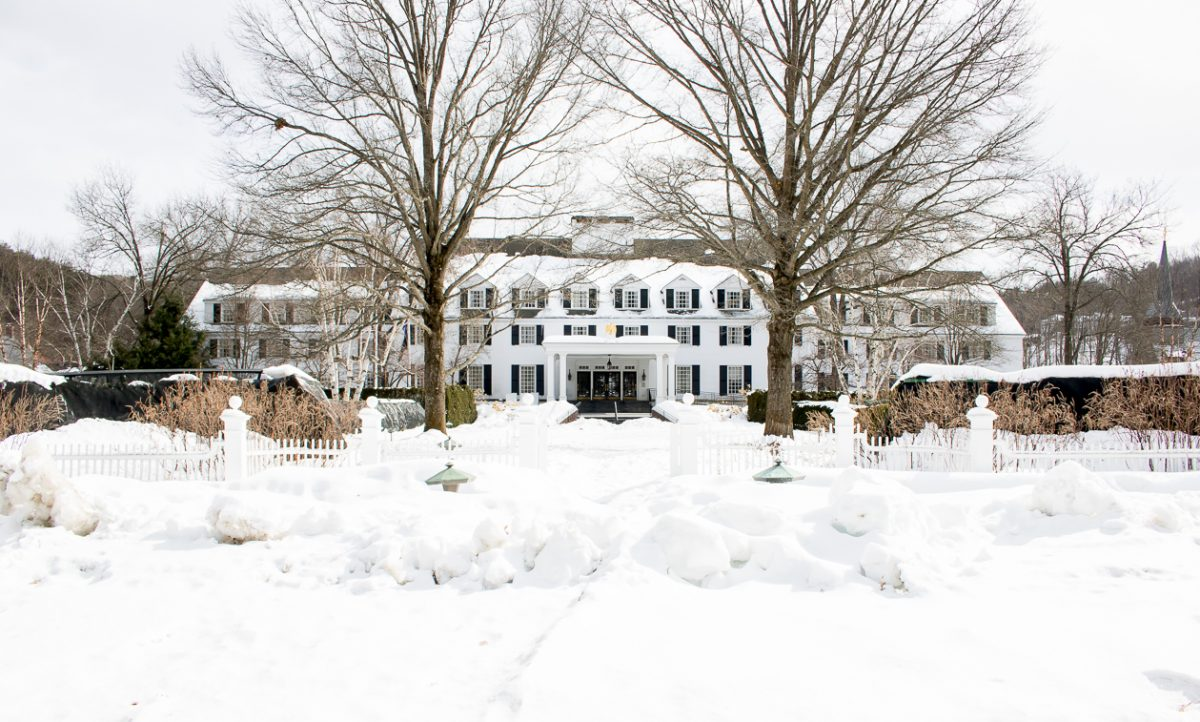 Woodstock Vermont Inn and Resort on a snowy day in Woodstock Vermont