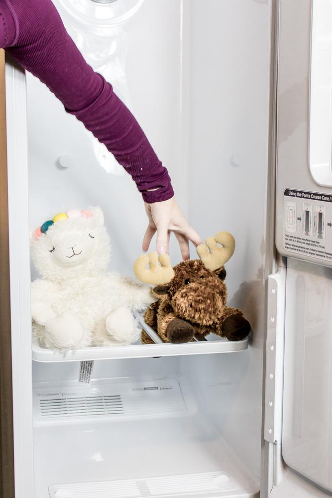 LG Styler Stuffed Animals on Shelf