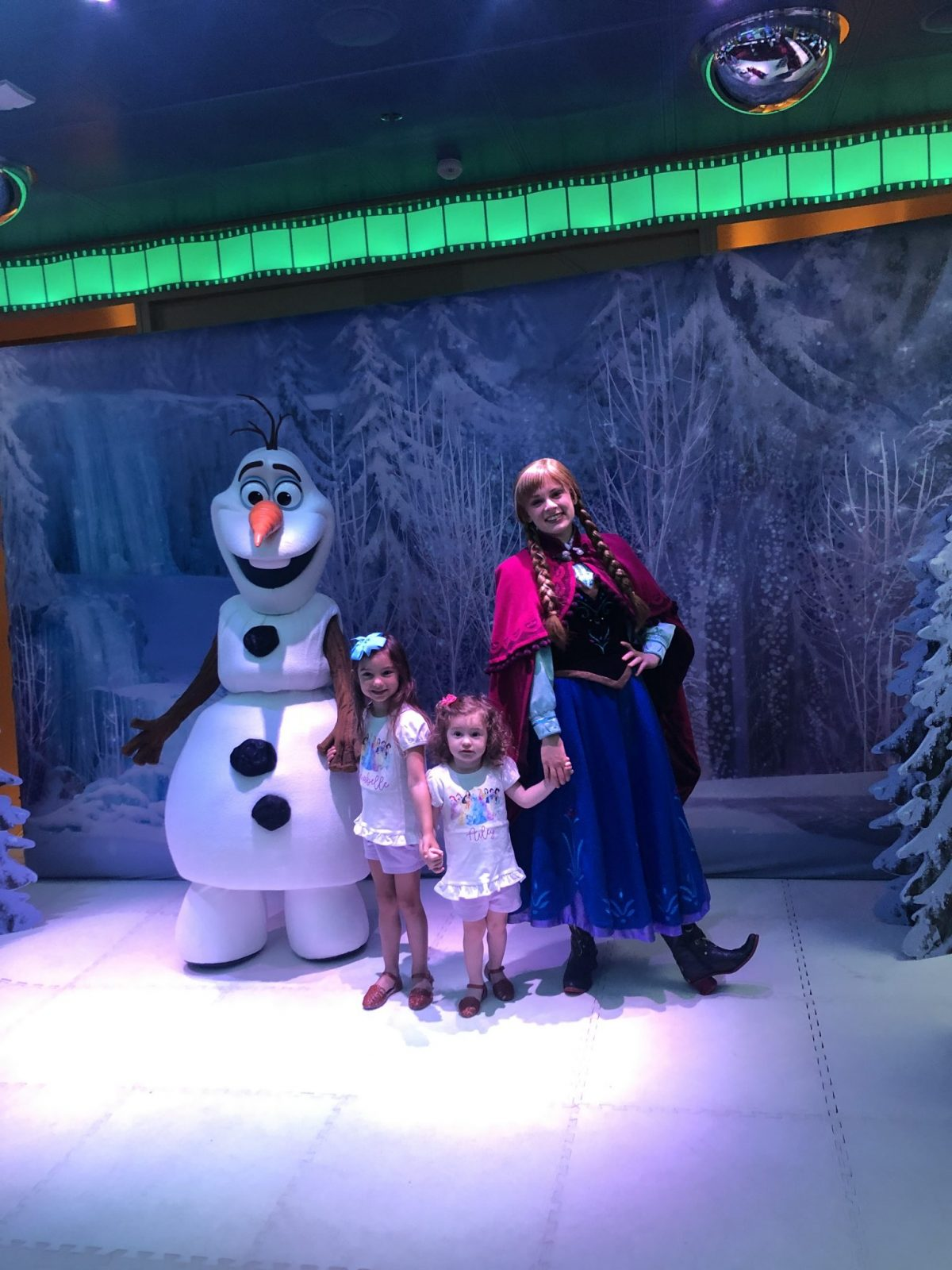 Little Girls with Olaf and Ana on Disney Cruise