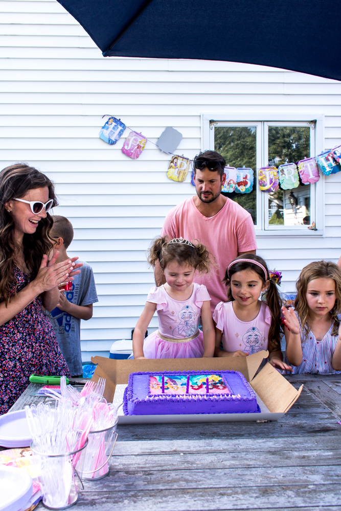 Singing Happy Birthday with Princess Cake for Ailey's Birthday Party