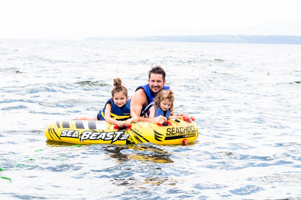 Tubing at Basin Harbor - Dad and Daughters
