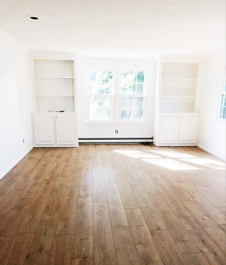 Living Room with white oak laminate flooring