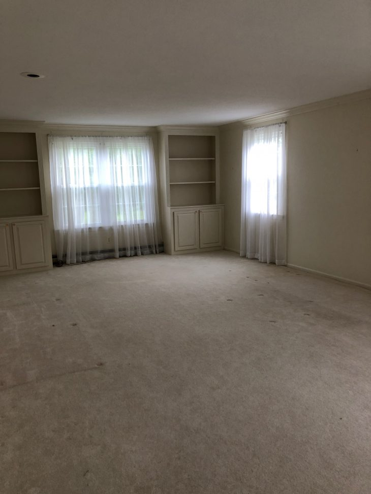 Living Room with old carpet before renovation