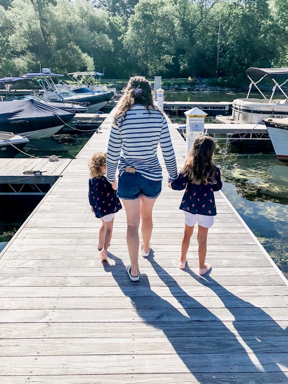 Basin Harbor Family on the Docks in Vergennes VT