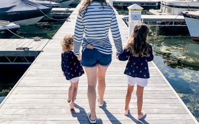 Mom and Daughters walking on lake dock in Basin Harbor