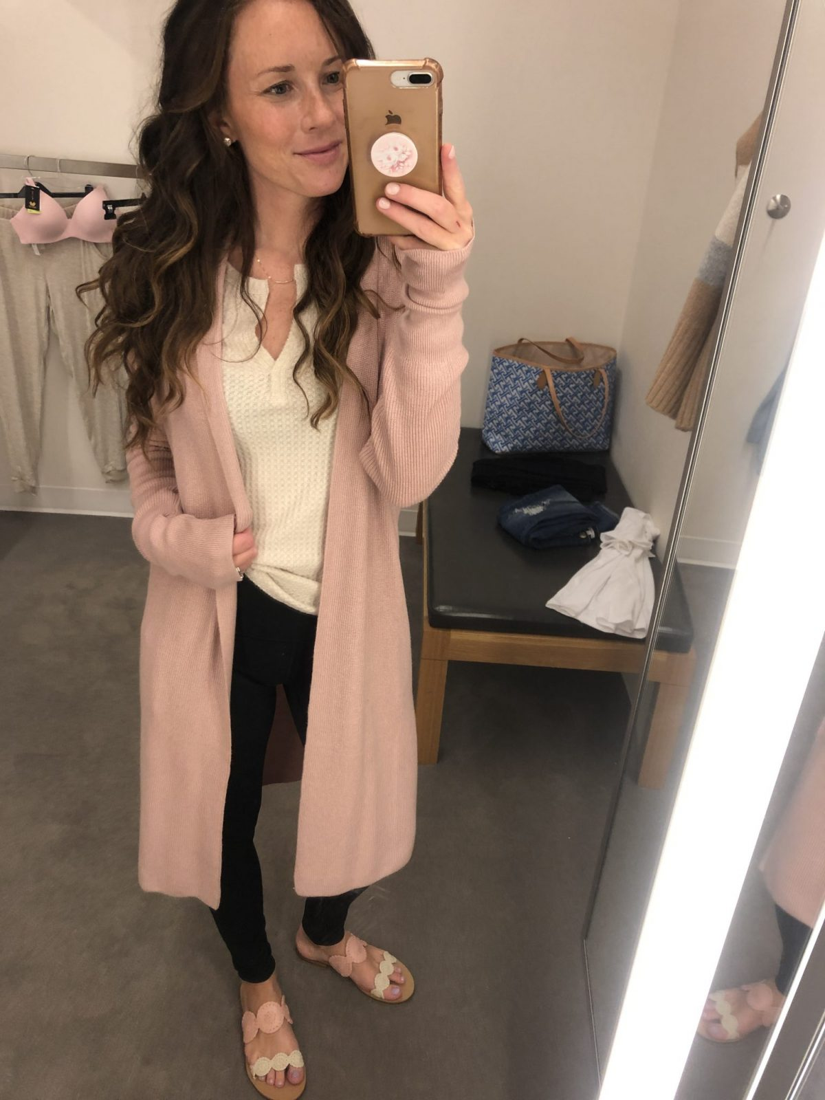 Leith Blush Duster Cardigan Nordstrom