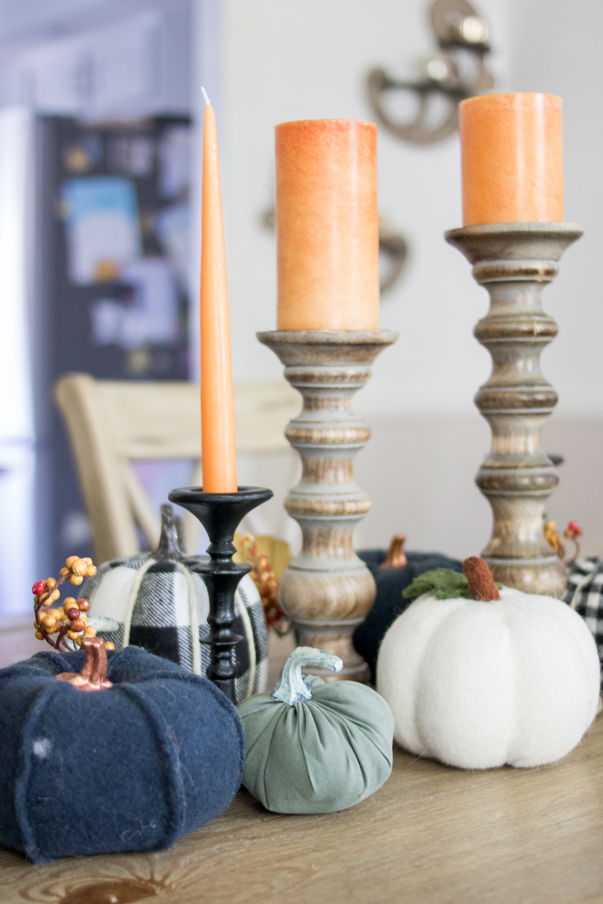 Fall dining room table decor navy pumpkins black candle stick holders Pillar Candle