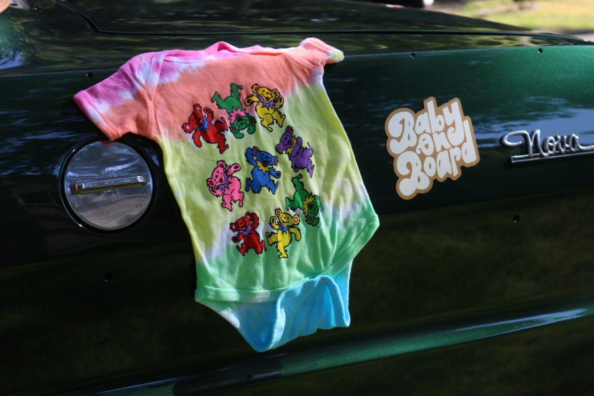 Baby on Board Pregnancy Announcement with Grateful Dead Tie-Dye Onesie
