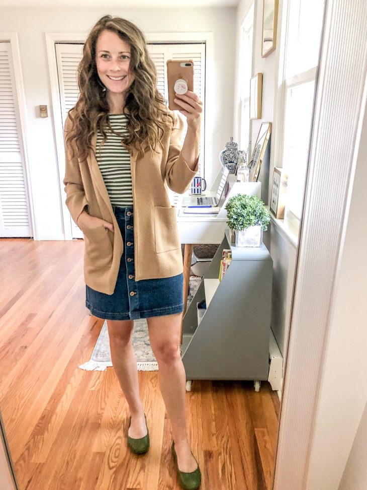 Sweater Blazer Striped Shirt Button Front Denim Skirt