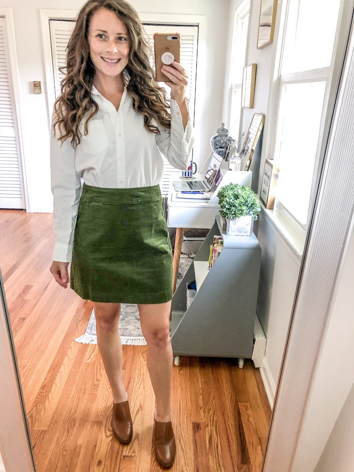 How to Style a Corduroy Skirt for Fall with a White Oxford